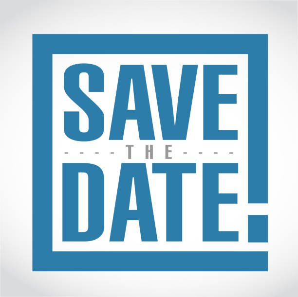 save the date exclamation box message  isolated over a white background
